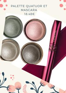 Mascara et ombres à paupières au choix, notre préférence va vers ces teintes douces de rose et gris.